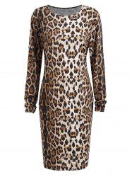 Plus Size Long Sleeve Leopard Printed Bodycon Dress -