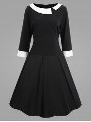 Contrast Panel Plus Size Vintage Fit and Flare Dress -