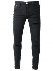 Zip Hem Skinny Jeans with Knee Rips -