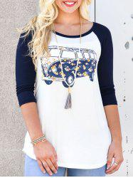 Bus Print Baseball Tunic T-shirt -