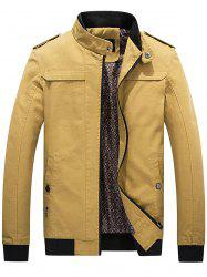 Epaulet Rib Panel Zip Up Jacket -