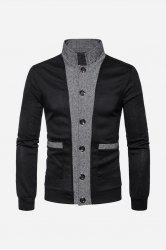 Color Block Panel Button Up Cardigan -