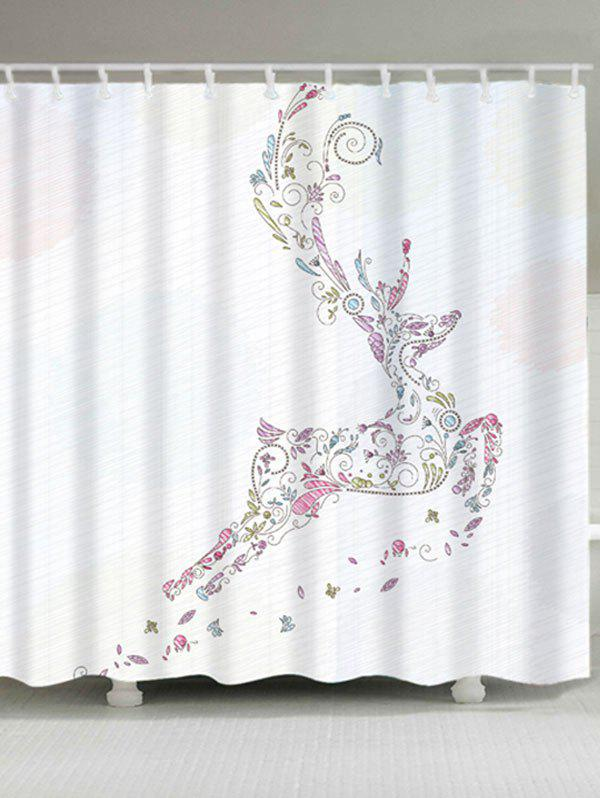 Christmas Deer Waterproof Shower CurtainHOME<br><br>Size: W71 INCH * L71 INCH; Color: WHITE; Products Type: Shower Curtains; Materials: Polyester; Pattern: Animal; Style: Festival; Number of Hook Holes: W59 inch*L71 inch: 10; W71 inch*L71 inch: 12; Package Contents: 1 x Shower Curtain 1 x Hooks (Set);