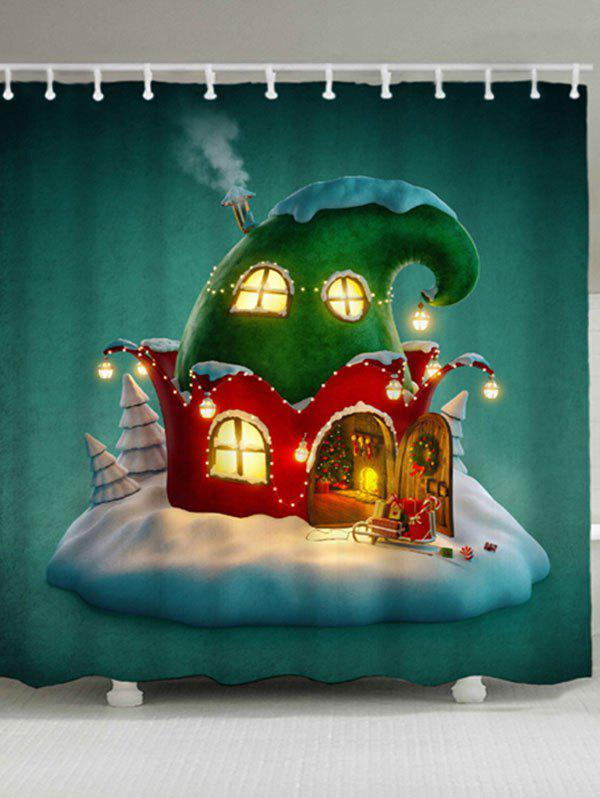 Waterproof Christmas Cartoon House Bath CurtainHOME<br><br>Size: W71 INCH * L71 INCH; Color: GREEN; Products Type: Shower Curtains; Materials: Polyester; Pattern: Cartoon; Style: Festival; Number of Hook Holes: W59 inch*L71 inch: 10; W71 inch*L71 inch: 12; Package Contents: 1 x Shower Curtain 1 x Hooks (Set);