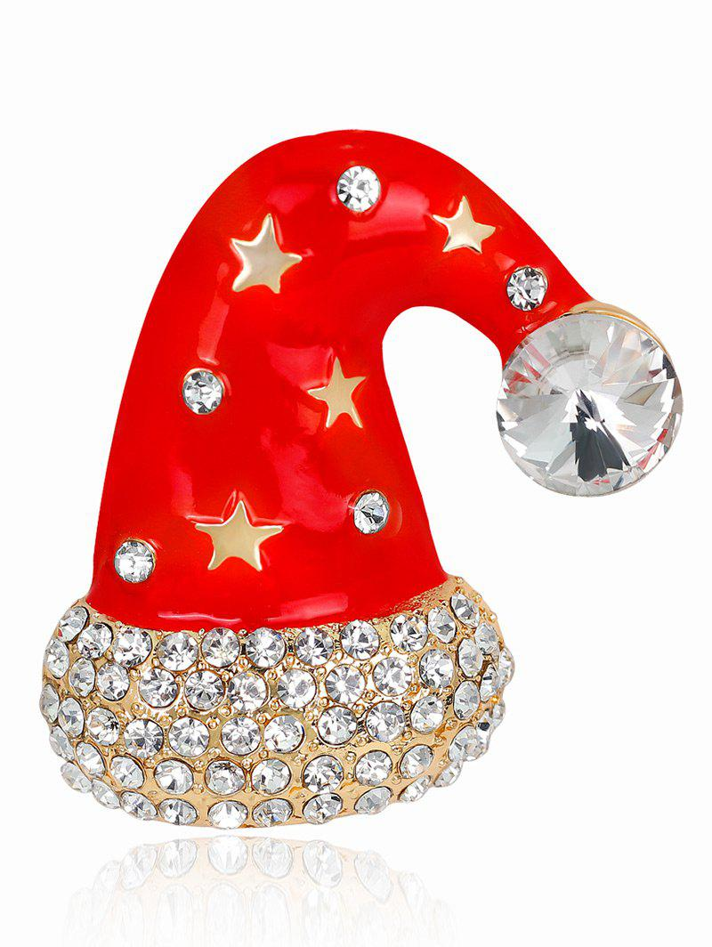 Five Point Star Rhinestone Christmas Cap BroochJEWELRY<br><br>Color: RED; Brooch Type: Brooch; Gender: For Women; Style: Trendy; Shape/Pattern: Others; Weight: 0.0230kg; Package Contents: 1 x Brooch;