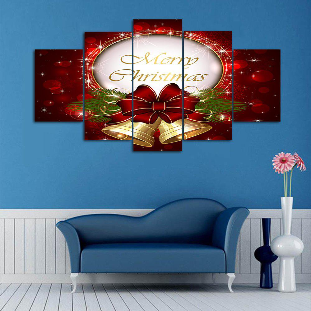 Christmas Bell Print Split Canvas Wall Art PaintingsHOME<br><br>Size: 1PC:12*31,2PCS:12*16,2PCS:12*24 INCH( NO FRAME ); Color: DARK RED; Subjects: Christmas; Features: Decorative; Style: Fashion; Hang In/Stick On: Bedrooms,Hotels,Living Rooms,Offices,Stair; Form: Five Panels,Four Panels; Frame: No; Material: Canvas; Package Contents: 1 x Canvas Painting (Set);