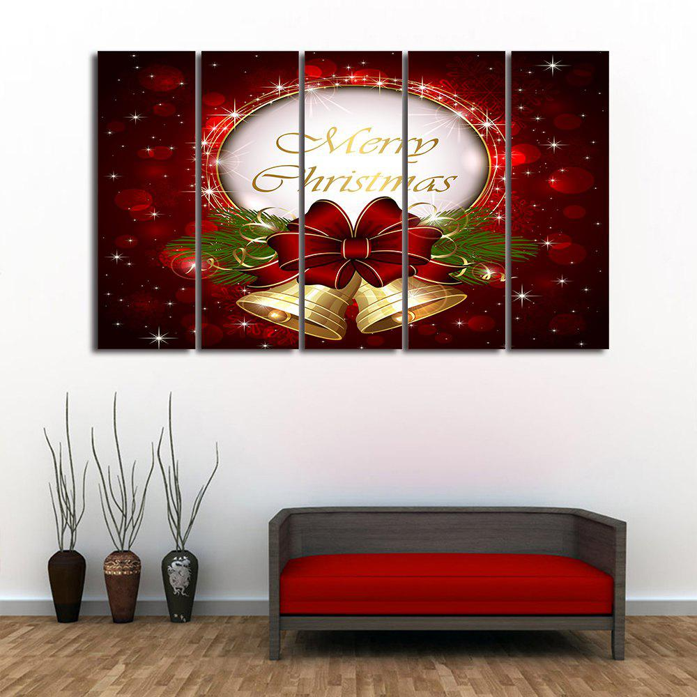 Christmas Bell Print Split Canvas Wall Art PaintingsHOME<br><br>Size: 5PCS:12*31 INCH( NO FRAME ); Color: DARK RED; Subjects: Christmas; Features: Decorative; Style: Fashion; Hang In/Stick On: Bedrooms,Hotels,Living Rooms,Offices,Stair; Form: Five Panels,Four Panels; Frame: No; Material: Canvas; Package Contents: 1 x Canvas Painting (Set);