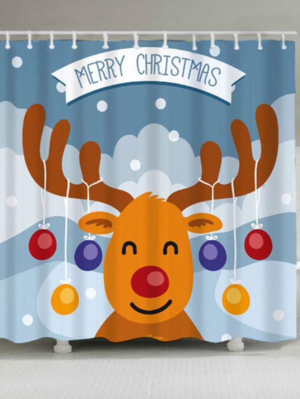 Christmas Cartoon Deer Waterproof Bath CurtainHOME<br><br>Size: W71 INCH * L71 INCH; Color: COLORMIX; Products Type: Shower Curtains; Materials: Polyester; Pattern: Animal; Style: Festival; Number of Hook Holes: W59 inch*L71 inch: 10; W71 inch*L71 inch: 12; Package Contents: 1 x Shower Curtain 1 x Hooks (Set);