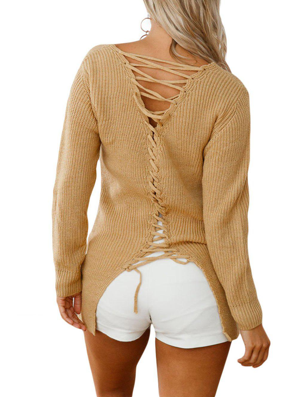 Best V Neck Back Lace Up Sweater