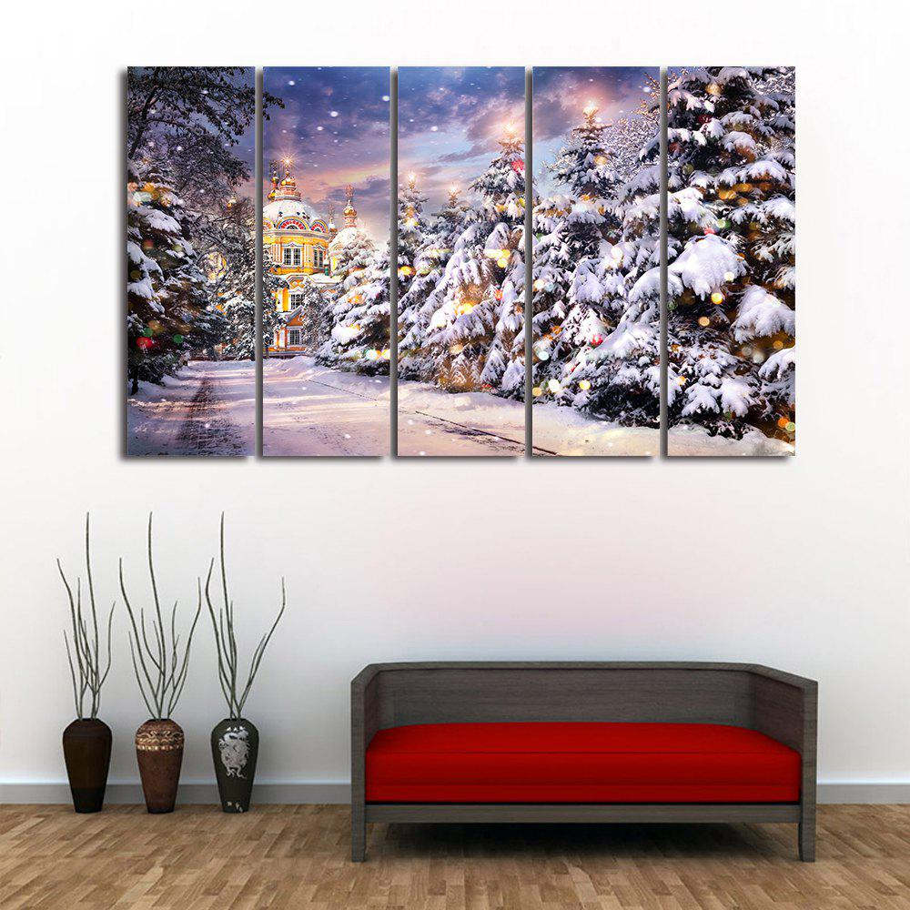 Christmas Tree Path Print Unframed Split Canvas PaintingsHOME<br><br>Size: 5PCS:12*31 INCH( NO FRAME ); Color: COLORMIX; Subjects: Christmas; Features: Decorative; Hang In/Stick On: Bedrooms,Cafes,Hotels,Living Rooms,Lobby,Offices,Stair; Form: Five Panels,Four Panels; Frame: No; Material: Canvas; Package Contents: 1 x Canvas Paintings (Set);