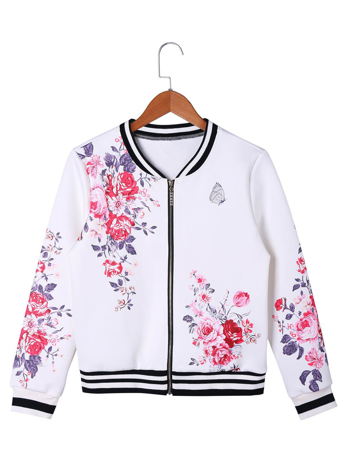 Cheap Zip Up Floral Baseball Jacket