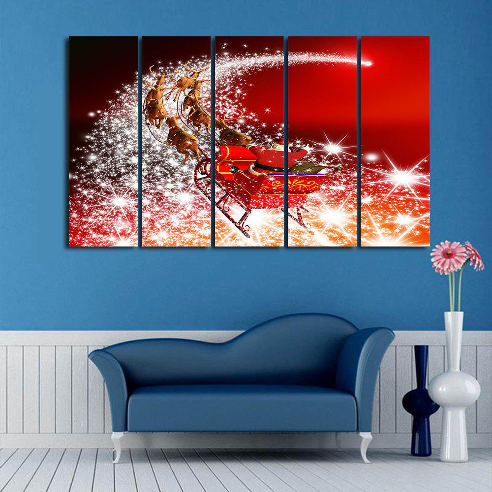 Christmas Sled Print Wall Art Split Canvas PaintingsHOME<br><br>Size: 5PCS:12*31 INCH( NO FRAME ); Color: RED; Subjects: Christmas; Features: Decorative; Style: Fashion; Hang In/Stick On: Bedrooms,Hotels,Living Rooms,Offices,Stair; Form: Five Panels,Four Panels; Frame: No; Material: Canvas; Package Contents: 1 x Canvas Painting (Set);