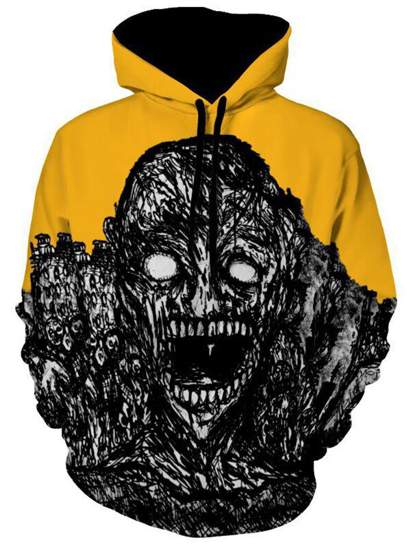 Fashion Kangaroo Pocket Skull Print Halloween Hoodie
