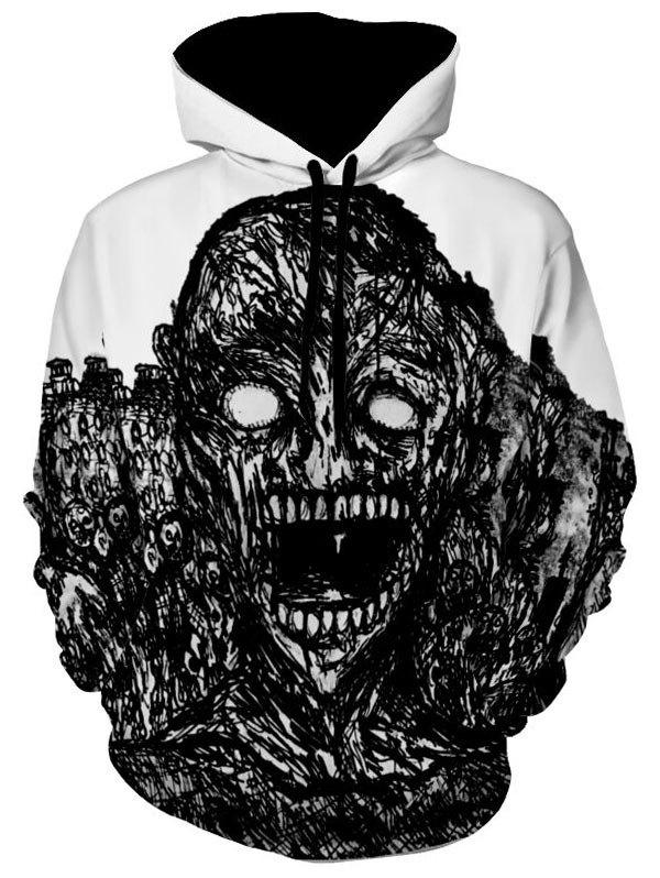 Kangaroo Pocket Skull Print Halloween HoodieMEN<br><br>Size: XL; Color: WHITE; Material: Polyester; Shirt Length: Regular; Sleeve Length: Full; Style: Gothic; Patterns: Skulls; Weight: 0.5900kg; Package Contents: 1 x Hoodie;
