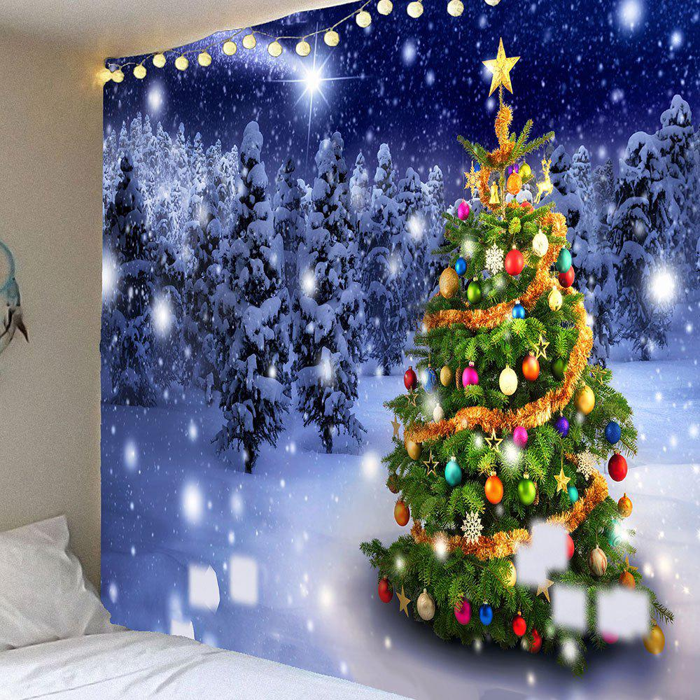 Christmas Tree Night Snow Forest Printed Wall TapestryHOME<br><br>Size: W91 INCH * L71 INCH; Color: COLORFUL; Style: Festival; Theme: Christmas; Material: Velvet; Feature: Removable,Waterproof; Shape/Pattern: Snow,Tree; Weight: 0.4200kg; Package Contents: 1 x Tapestry;