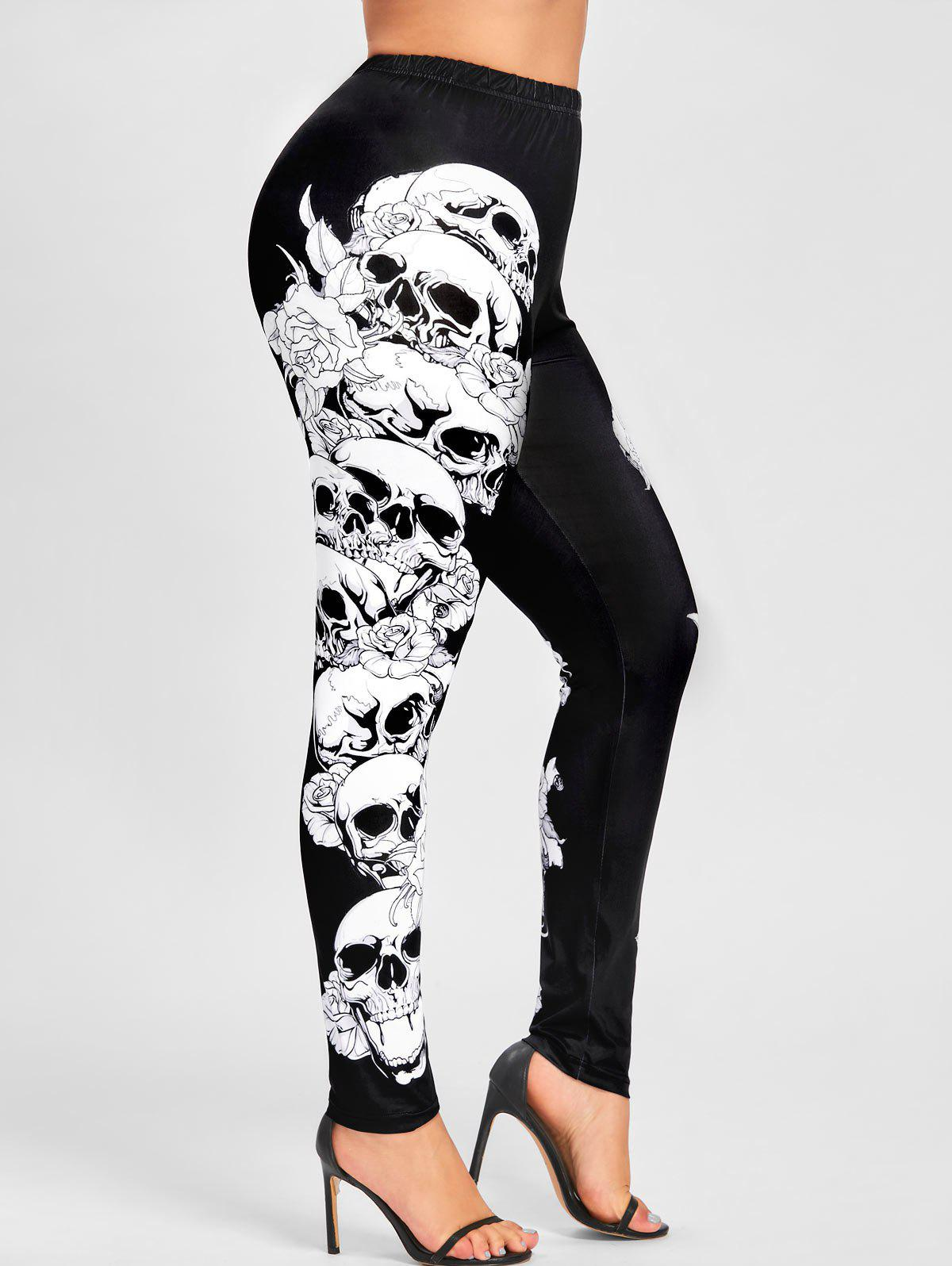 Halloween Plus Size Skulls Monochrome LeggingsWOMEN<br><br>Size: 2XL; Color: BLACK; Style: Casual; Length: Normal; Material: Polyester; Fit Type: Skinny; Waist Type: Mid; Closure Type: Elastic Waist; Pattern Type: Skulls; Pant Style: Pencil Pants; Weight: 0.2400kg; Package Contents: 1 x Leggings;