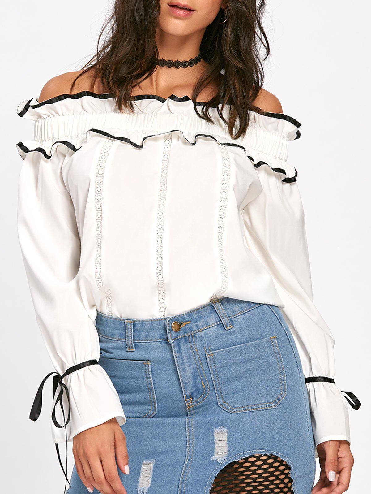 Hollow Out Ruffles Bowknot Off The Shoulder BlouseWOMEN<br><br>Size: M; Color: OFF-WHITE; Style: Casual; Material: Cotton,Polyester; Shirt Length: Regular; Sleeve Length: Full; Collar: Off The Shoulder; Pattern Type: Others; Embellishment: Bowknot,Hollow Out; Season: Fall,Spring; Weight: 0.2500kg; Package Contents: 1 x Blouse;