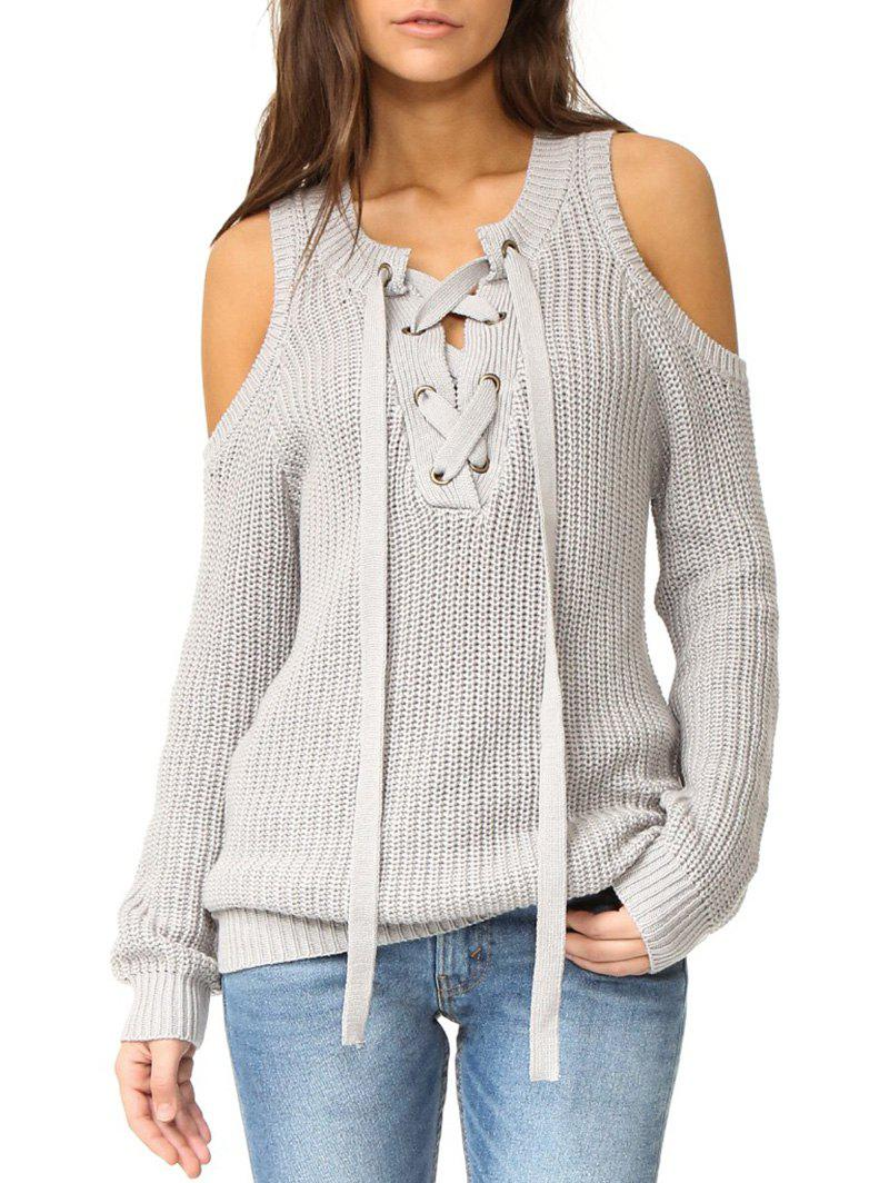 edfa3644ed0 35% OFF  Cold Shoulder Lace-up Sweater
