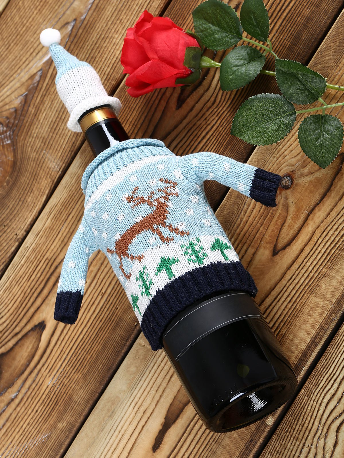Christmas Reindeer Sweater Wine Bottle CoverHOME<br><br>Size: 1 SET; Color: CLOUDY; Event &amp; Party Item Type: Party Decoration; Occasion: Brithday Party,Chinese New Year,Christmas,New Year,Party,Thanksgiving; Weight: 0.0500kg; Package Contents: 1 x Wine Bottle Cover(Set);