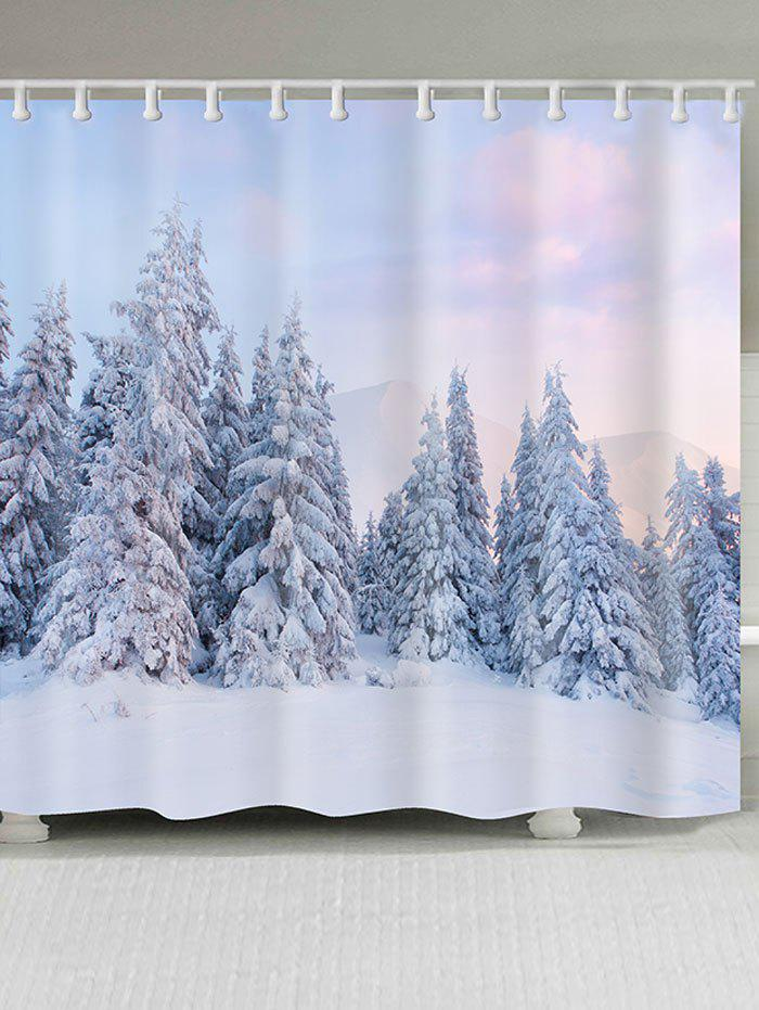 Snowfield Forest Printed Shower Bath CurtainHOME<br><br>Size: W79 INCH * L71 INCH; Color: WHITE; Products Type: Shower Curtains; Materials: Polyester; Pattern: Forest,Snowflake; Style: Natural; Number of Hook Holes: W59 inch * L71 inch:10, W65 inch * L71 inch:12, W71 inch * L71 inch:12,  W71 inch * L79 inch:12, W79 inch * L71 inch:12; Package Contents: 1 x Shower Curtain 1 x Hooks (Set);