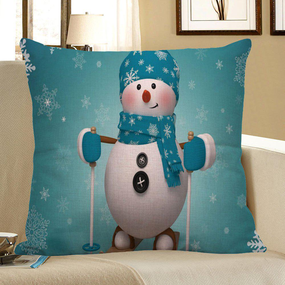 Christmas Snowman Pattern Square Pillow CaseHOME<br><br>Size: W18 INCH * L18 INCH; Color: LIGHT BLUE; Material: Linen; Pattern: Snowman; Style: Festival; Shape: Square; Weight: 0.0800kg; Package Contents: 1 x Pillow Case;