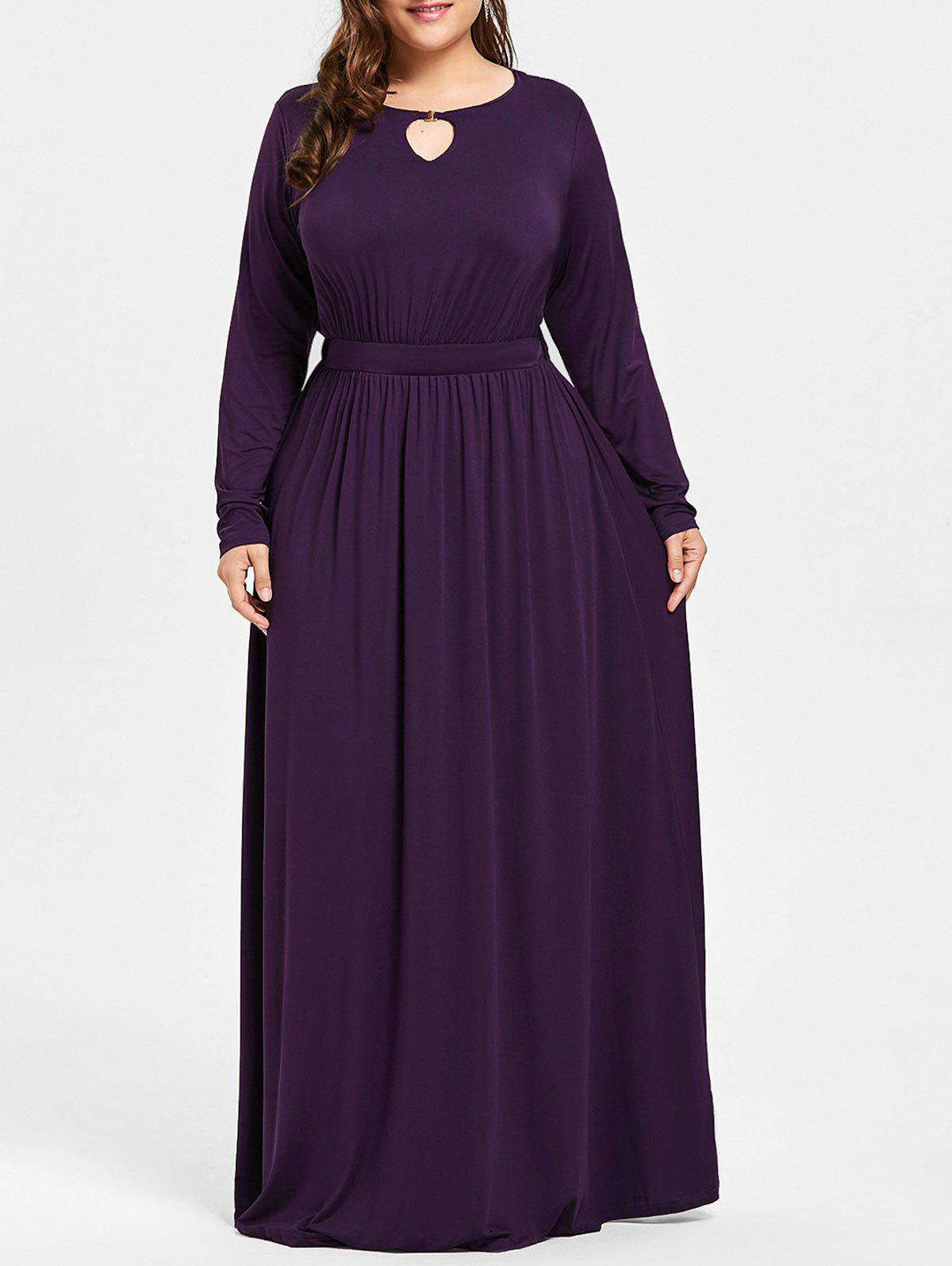 Keyhole Maxi Plus Size DressWOMEN<br><br>Size: 3XL; Color: DEEP PURPLE; Style: Casual; Material: Cotton,Polyester; Silhouette: A-Line; Dresses Length: Floor-Length; Neckline: Round Collar; Sleeve Length: Long Sleeves; Pattern Type: Solid; With Belt: No; Season: Fall; Weight: 0.5900kg; Package Contents: 1 x Dress;