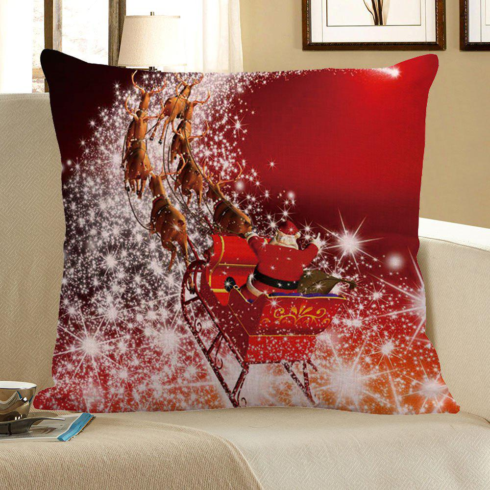 Christmas Carriage Pattern Linen Pillow CaseHOME<br><br>Size: W18 INCH * L18 INCH; Color: RED; Material: Linen; Pattern: Printed; Style: Festival; Shape: Square; Weight: 0.0800kg; Package Contents: 1 x Pillow Case;
