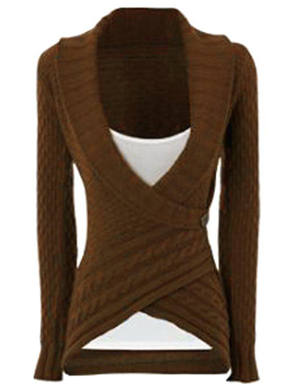 Latest Chic Turn-Down Neck Long Sleeve Asymmetrical Women's Sweater