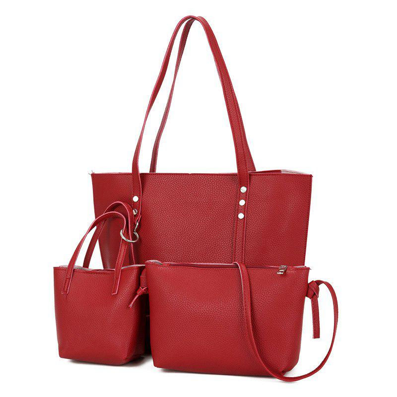 3 Pieces Faux Leather Shoulder Bag SetSHOES &amp; BAGS<br><br>Color: RED; Handbag Type: Shoulder bag; Style: Fashion; Gender: For Women; Pattern Type: Solid; Handbag Size: Medium(30-50cm); Closure Type: Zipper; Occasion: Versatile; Main Material: PU; Weight: 1.2000kg; Size(CM)(L*W*H): 37*13*26; Package Contents: 1 x Shoulder Bag, 1 x Tote, 1 x Crossbody Bag;