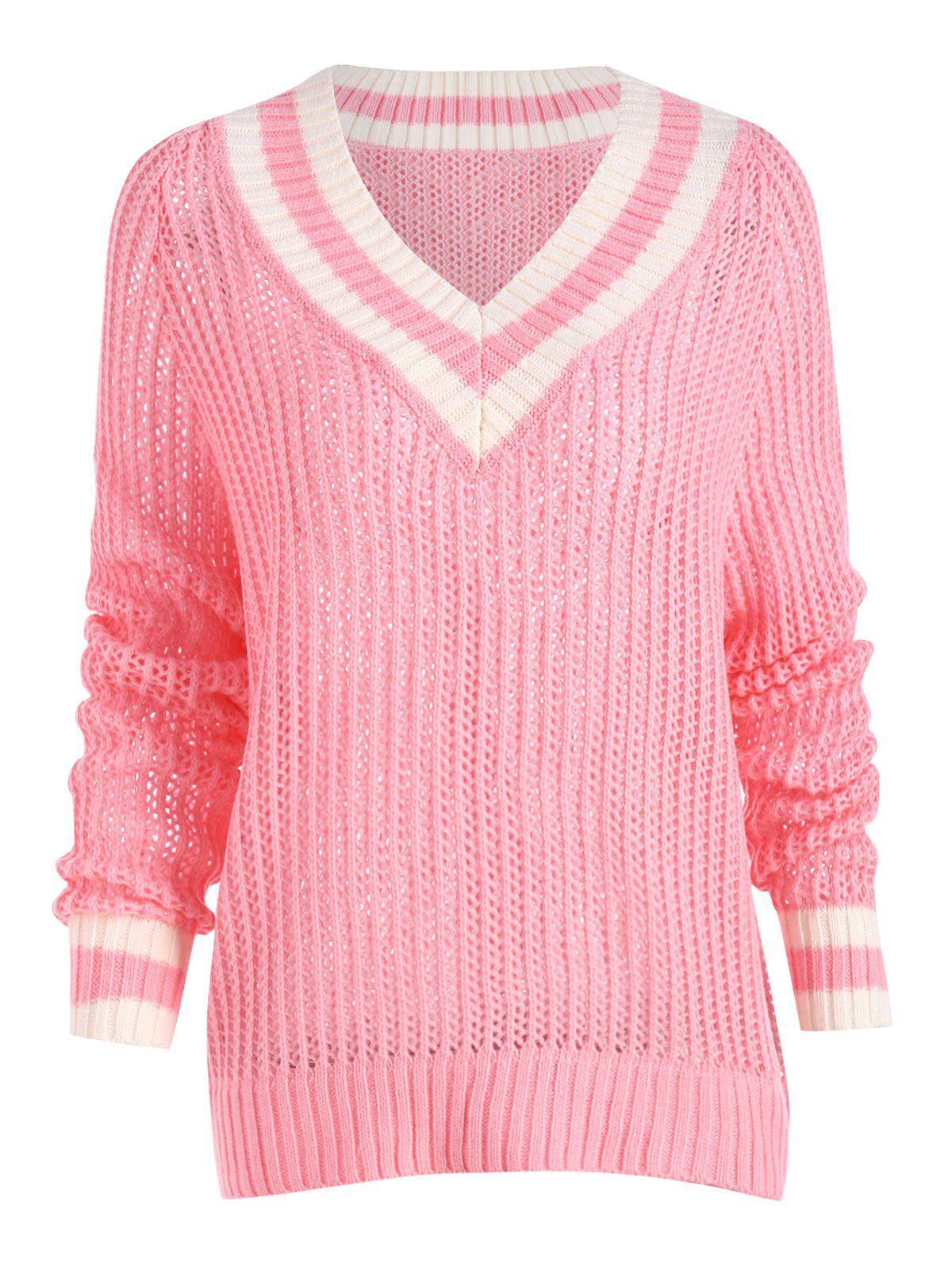 Chunky Knit High Low Plus Size Tennis SweaterWOMEN<br><br>Size: 3XL; Color: PINK; Type: Pullovers; Material: Cotton,Polyester; Sleeve Length: Full; Collar: V-Neck; Style: Fashion; Season: Fall,Winter; Pattern Type: Striped; Weight: 0.4500kg; Package Contents: 1 x Sweater;