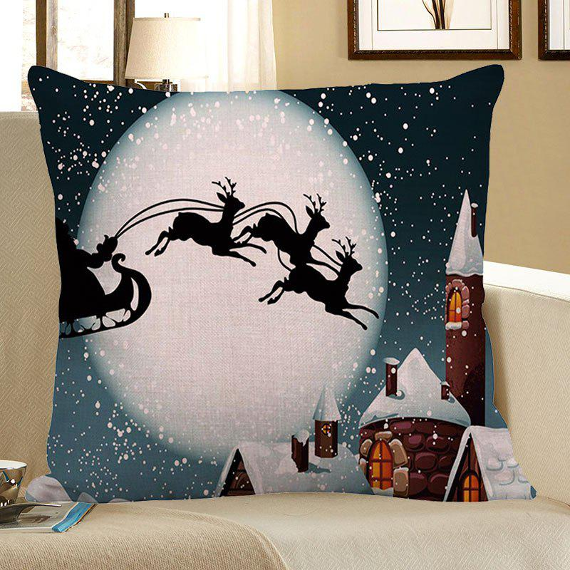 Moon and Christmas Reindeer Pattern Linen Pillow CaseHOME<br><br>Size: W18 INCH * L18 INCH; Color: GRAY; Material: Linen; Pattern: Elk; Style: Festival; Shape: Square; Weight: 0.0800kg; Package Contents: 1 x Pillow Case;