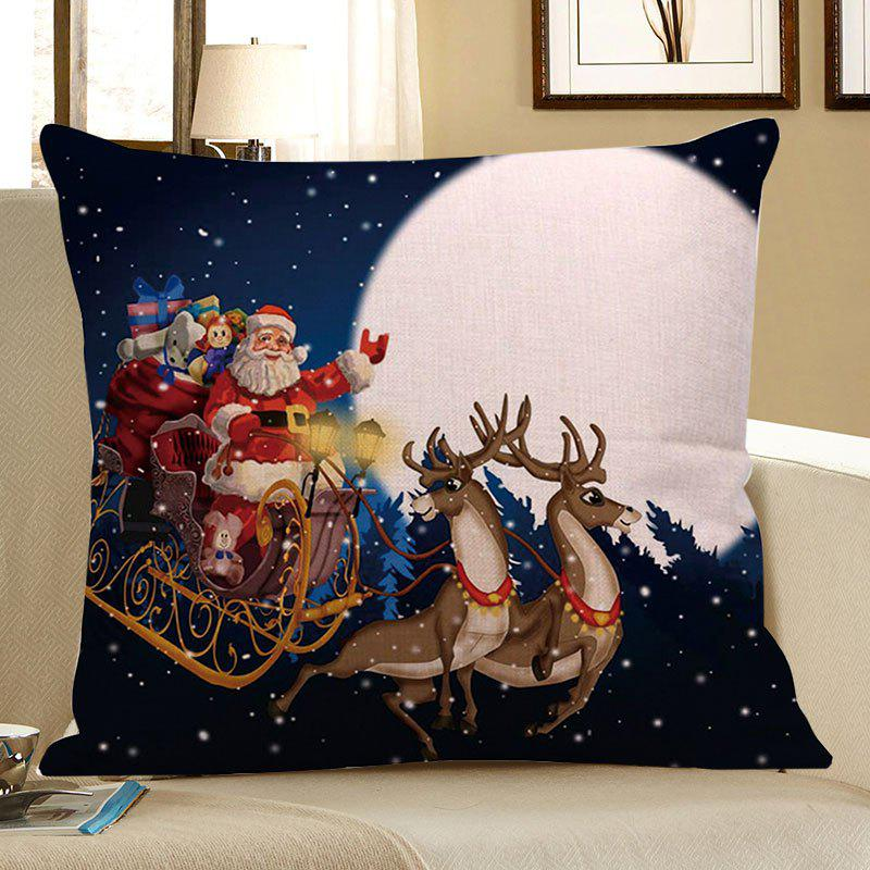 Father Christmas and Moon Printed Linen Pillow CaseHOME<br><br>Size: W18 INCH * L18 INCH; Color: COLORFUL; Material: Linen; Pattern: Moon,Santa Claus; Style: Festival; Shape: Square; Weight: 0.0800kg; Package Contents: 1 x Pillow Case;