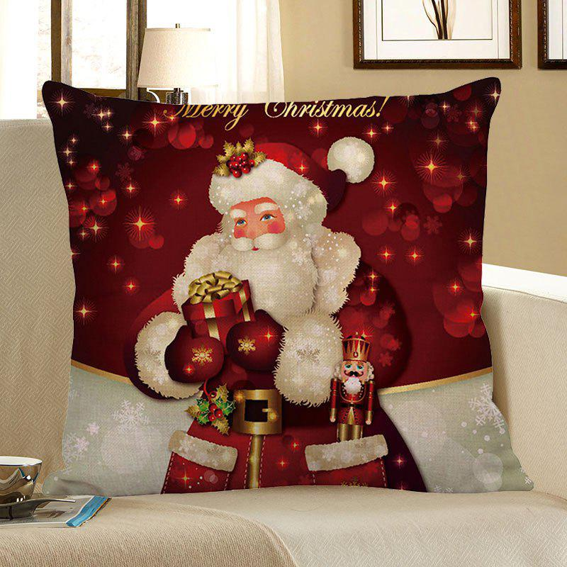 Santa Claus Pattern Square Pillow CaseHOME<br><br>Size: W18 INCH * L18 INCH; Color: RED WITH WHITE; Material: Linen; Pattern: Santa Claus; Style: Festival; Shape: Square; Weight: 0.0800kg; Package Contents: 1 x Pillow Case;