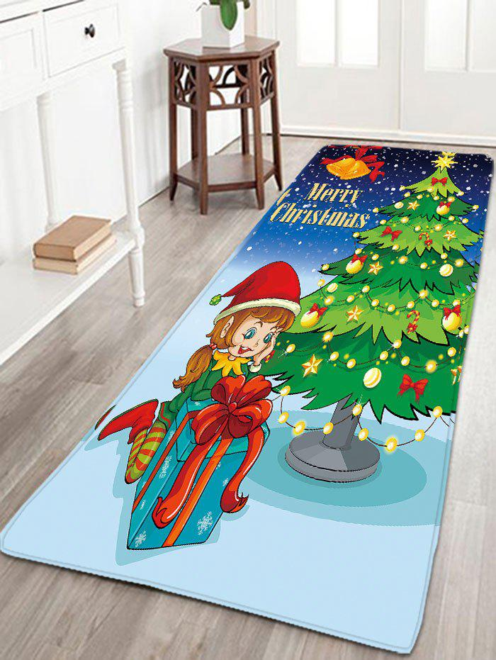 Flannel Thin Christmas Tree Antislip Bath MatHOME<br><br>Size: W16 INCH * L47 INCH; Color: GREEN; Products Type: Bath rugs; Materials: Flannel; Style: Festival; Shape: Rectangular; Package Contents: 1 x Rug;