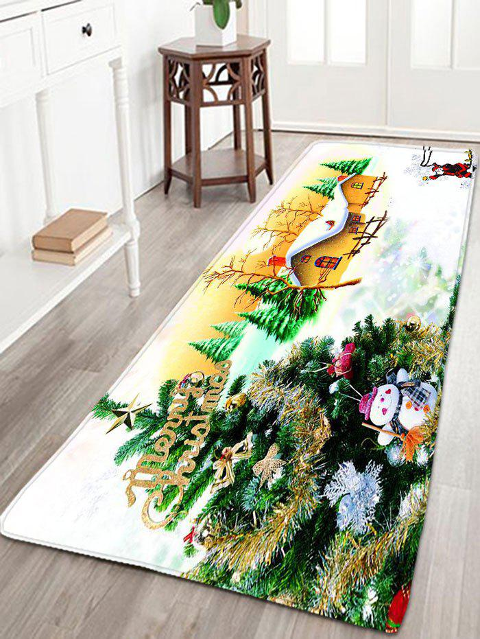 Flannel Thin Christmas Tree Antislip Bath RugHOME<br><br>Size: W16 INCH * L47 INCH; Color: WHITE; Products Type: Bath rugs; Materials: Flannel; Pattern: Plant,Santa Claus,Snowman; Style: Festival; Shape: Rectangular; Package Contents: 1 x Rug;