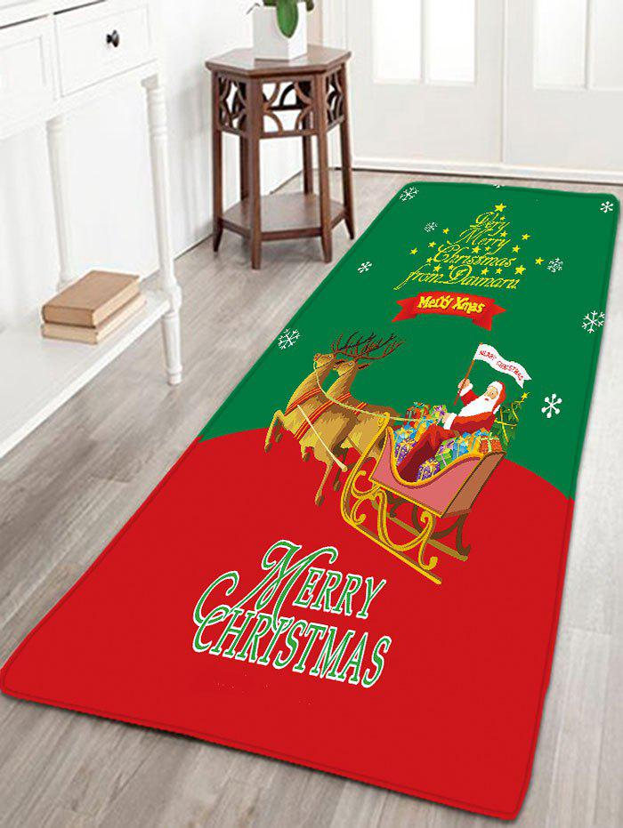 Christmas Sled Flannel Antiskid Thin Bath MatHOME<br><br>Size: W16 INCH * L47 INCH; Color: RED AND GREEN; Products Type: Bath rugs; Materials: Flannel; Pattern: Animal,Santa Claus; Style: Festival; Shape: Rectangular; Package Contents: 1 x Rug;