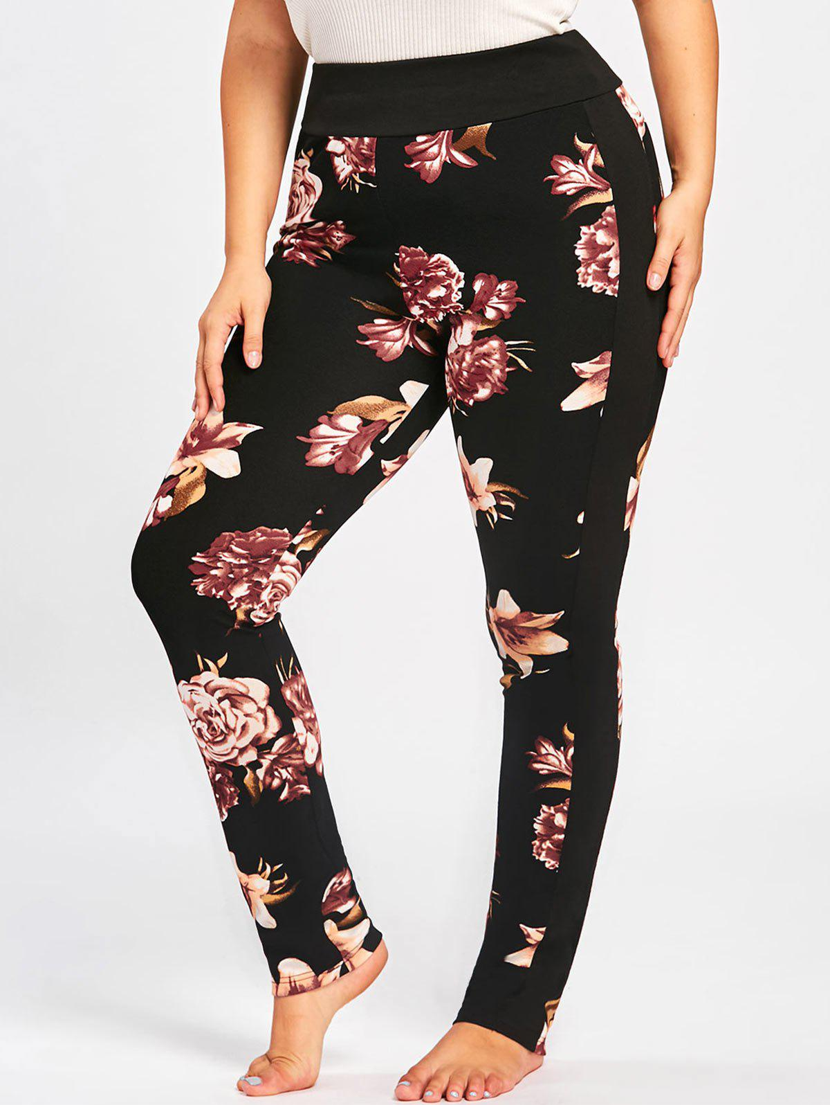 Plus Size Floral Skinny PantsWOMEN<br><br>Size: 3XL; Color: BLACK; Style: Casual; Length: Normal; Material: Polyester,Spandex; Fit Type: Skinny; Waist Type: High; Closure Type: Elastic Waist; Pattern Type: Floral; Pant Style: Pencil Pants; Weight: 0.3000kg; Package Contents: 1 x Pants;