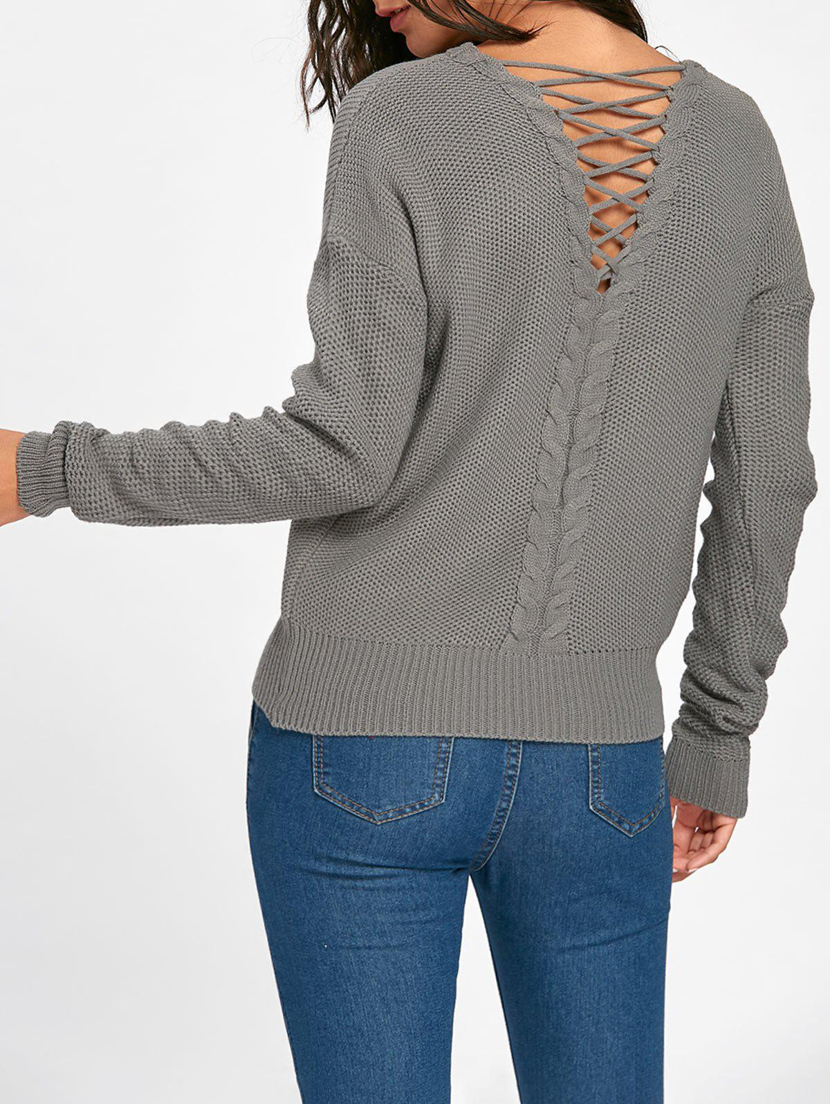 Cable Knitted Back Lace Up SweaterWOMEN<br><br>Size: ONE SIZE; Color: GRAY; Type: Pullovers; Material: Acrylic; Sleeve Length: Full; Collar: Scoop Neck; Style: Fashion; Pattern Type: Solid; Embellishment: Lace up; Season: Fall,Spring; Weight: 0.3600kg; Package Contents: 1 x Sweater;