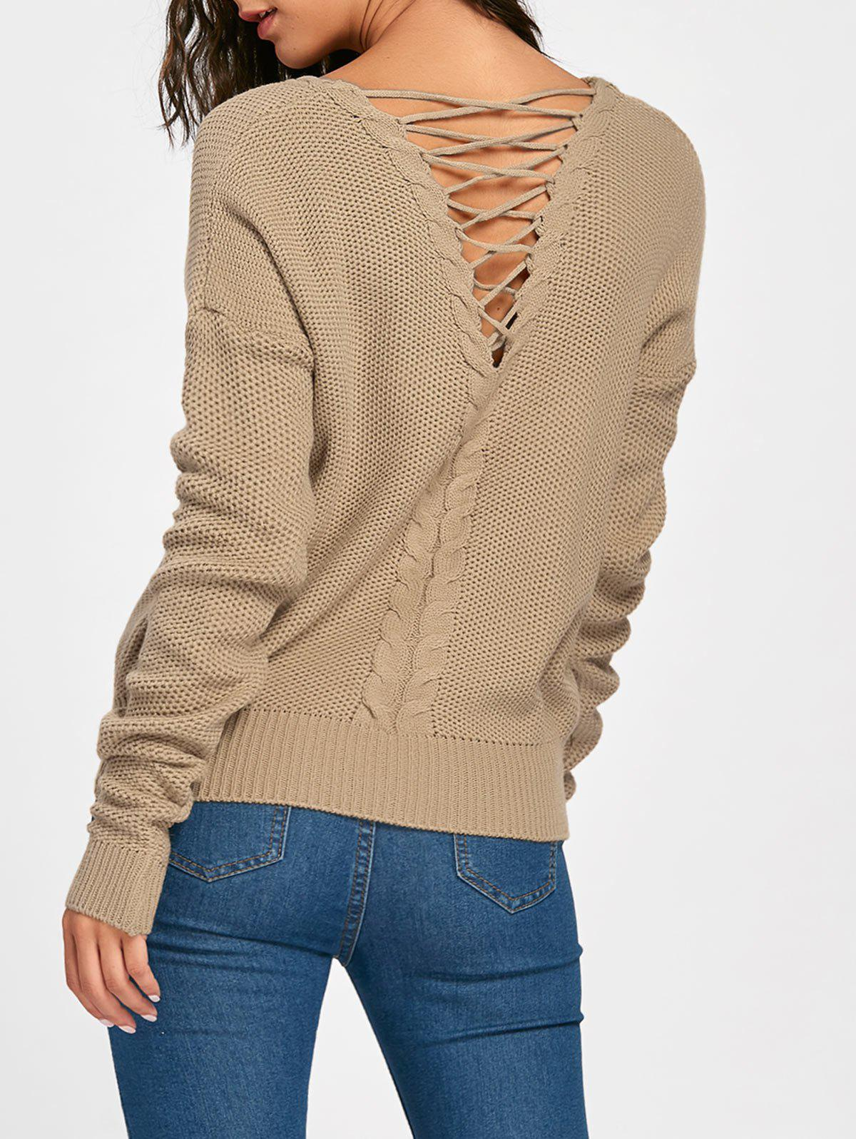 Cable Knitted Back Lace Up SweaterWOMEN<br><br>Size: ONE SIZE; Color: COFFEE; Type: Pullovers; Material: Acrylic; Sleeve Length: Full; Collar: Scoop Neck; Style: Fashion; Pattern Type: Solid; Embellishment: Lace up; Season: Fall,Spring; Weight: 0.3600kg; Package Contents: 1 x Sweater;