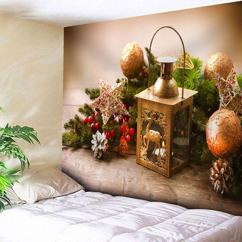 Christmas Ball Star Candle Wall TapestryHOME<br><br>Size: W79 INCH * L59 INCH; Color: LIGHT BROWN; Style: Festival; Theme: Christmas; Material: Nylon,Polyester; Feature: Removable,Washable; Shape/Pattern: Ball,Star; Weight: 0.2700kg; Package Contents: 1 x Tapestry;