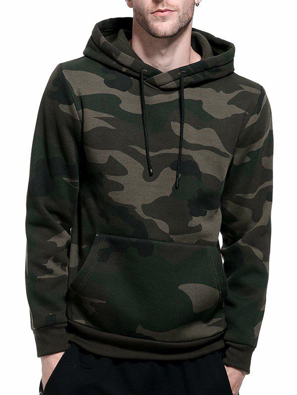 Camouflage Fleece Pocket HoodieMEN<br><br>Size: XL; Color: ARMY GREEN; Material: Polyester; Shirt Length: Regular; Sleeve Length: Full; Style: Fashion; Patterns: Camouflage; Weight: 0.5800kg; Package Contents: 1 x Hoodie;