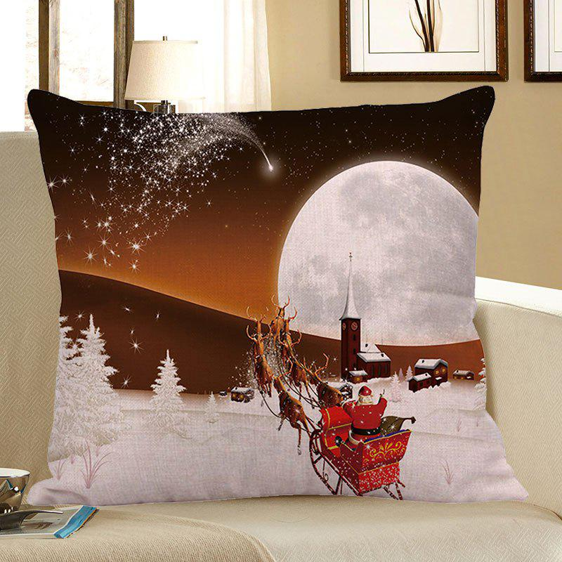 Home Decor Stars and Christmas Carriage Pattern Pillow CaseHOME<br><br>Size: W18 INCH * L18 INCH; Color: WHITE AND BROWN; Material: Linen; Pattern: Moon,Santa Claus; Style: Festival; Shape: Square; Weight: 0.0800kg; Package Contents: 1 x Pillow Case;