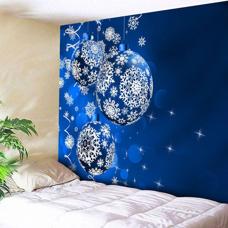 Wall Art Christmas Ball Print TapestryHOME<br><br>Size: W79 INCH * L59 INCH; Color: BLUE; Style: Festival; Theme: Christmas; Material: Nylon,Polyester; Feature: Removable,Washable; Shape/Pattern: Ball; Weight: 0.2700kg; Package Contents: 1 x Tapestry;