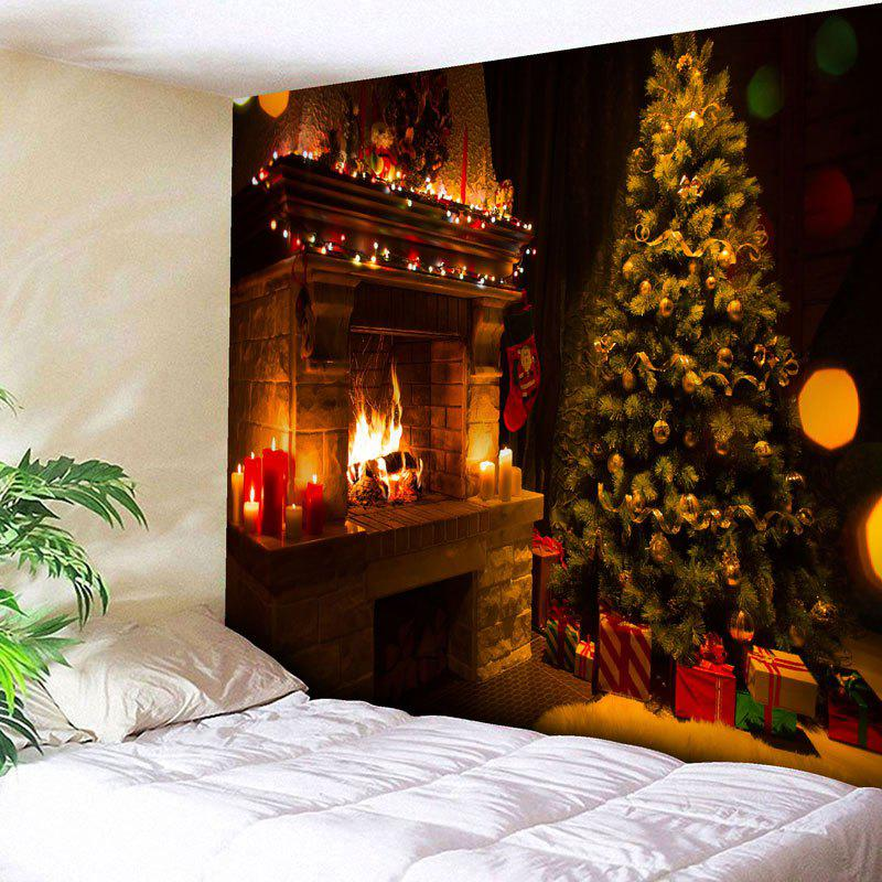 Wall Art Christmas Tree Fireplace TapestryHOME<br><br>Size: W59 INCH * L51 INCH; Color: COLORMIX; Style: Festival; Theme: Christmas; Material: Nylon,Polyester; Feature: Removable,Washable; Shape/Pattern: Tree; Weight: 0.1800kg; Package Contents: 1 x Tapestry;