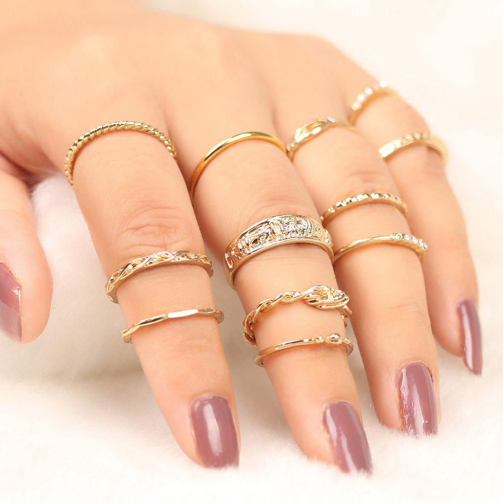 Shop Engraved Alloy Circle Finger Ring Set