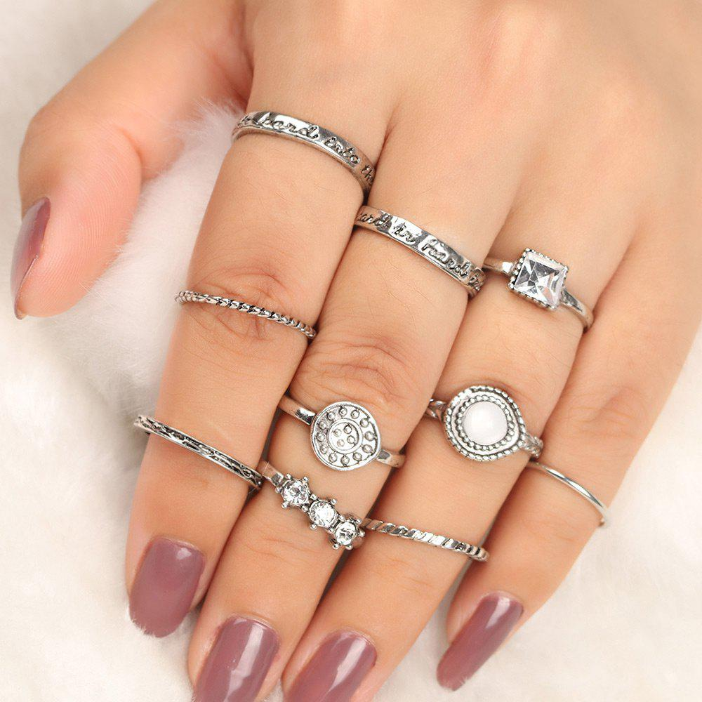 Rhinestone Geometric Antique Finger Ring SetJEWELRY<br><br>Color: SILVER; Gender: For Women; Material: Rhinestone; Metal Type: Alloy; Style: Trendy; Shape/Pattern: Geometric; Weight: 0.0300kg; Package Contents: 10 x Rings (Piece);