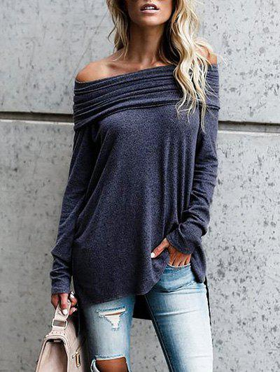 High Low Off The Shoulder Tunic TopWOMEN<br><br>Size: XL; Color: PURPLISH BLUE; Material: Polyester; Shirt Length: Long; Sleeve Length: Full; Collar: Off The Shoulder; Style: Fashion; Pattern Type: Solid Color; Season: Fall; Weight: 0.3500kg; Package Contents: 1 x Top;