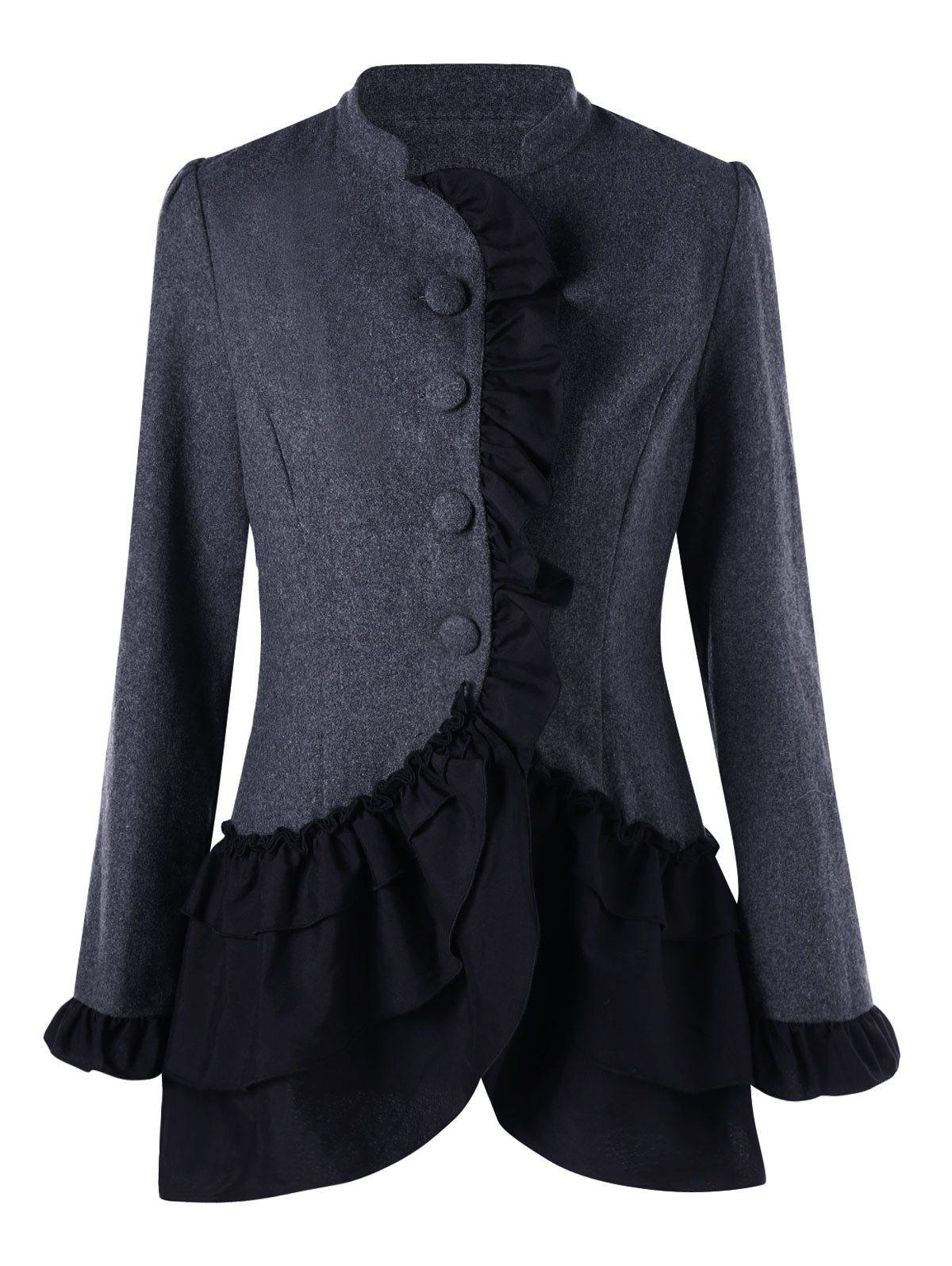 Ruffle Trim Layered CoatWOMEN<br><br>Size: XL; Color: DEEP GRAY; Clothes Type: Others; Material: Polyester; Type: Slim; Shirt Length: Long; Sleeve Length: Full; Collar: Stand-Up Collar; Pattern Type: Solid; Style: Fashion; Season: Fall,Spring; Weight: 0.4100kg; Package Contents: 1 x Coat;