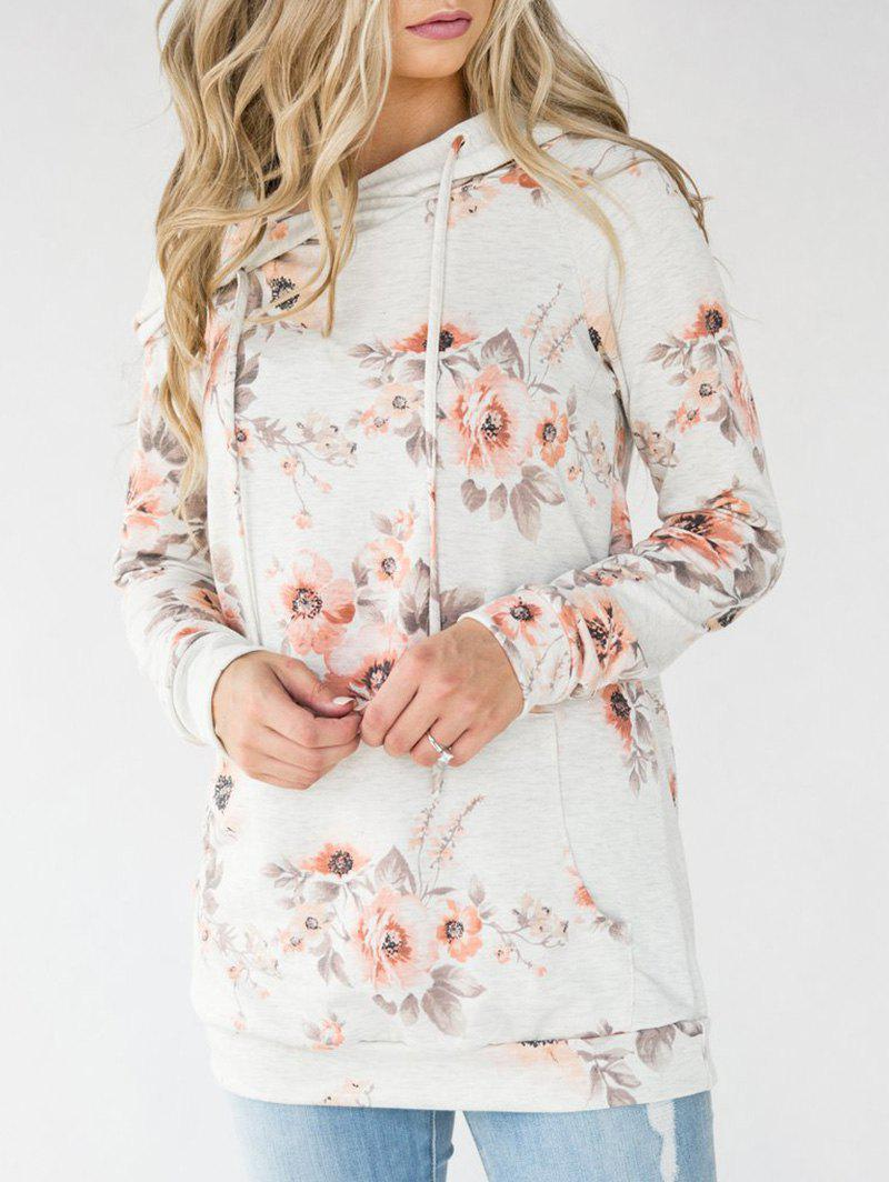Floral Long Sleeve Tunic HoodieWOMEN<br><br>Size: L; Color: COLORMIX; Material: Polyester; Shirt Length: Regular; Sleeve Length: Full; Style: Fashion; Pattern Style: Floral; Season: Fall; Weight: 0.3500kg; Package Contents: 1 x Hoodie;