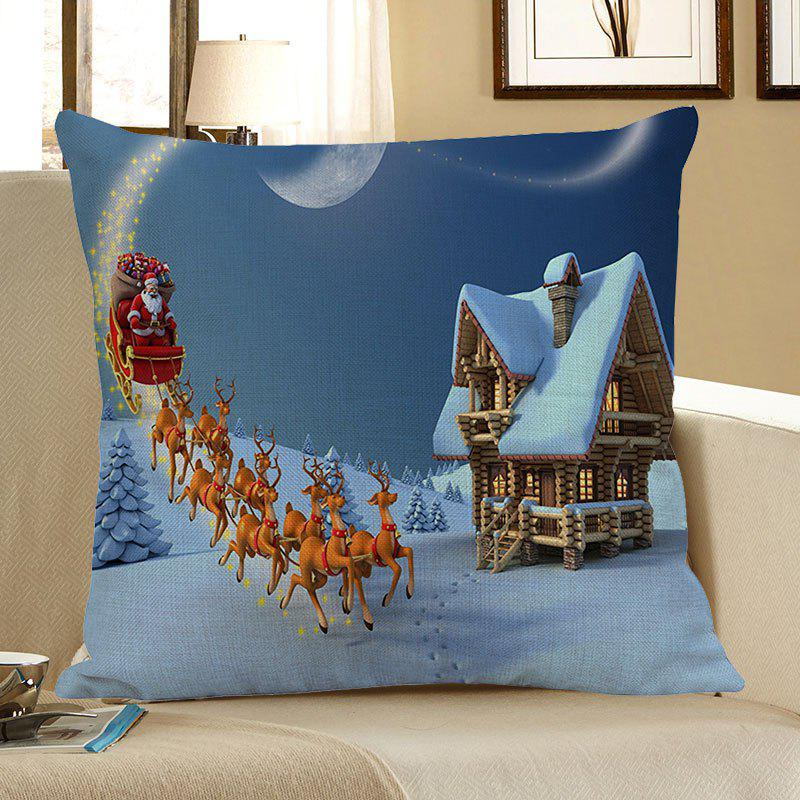 Santa Claus Carriage Snow House Pattern Pillow CaseHOME<br><br>Size: W18 INCH * L18 INCH; Color: COLORFUL; Material: Linen; Fabric Type: Linen; Pattern: Elk,Moon,Santa Claus; Style: Festival; Shape: Square; Size(CM): 45 x 45 (CM); Weight: 0.0800kg; Package Contents: 1 x Pillow Case;